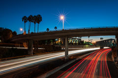 Streaking headlights of predawn Ventura 101 traffic. Stock Photography