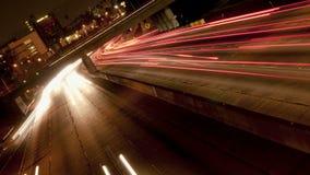 Streaking timelapse car headlights stock footage
