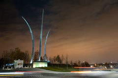 Streaks. Cars in front of the Air Force Memorial Stock Image