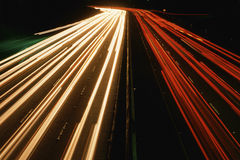 Streaks of headlights Royalty Free Stock Images