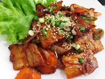 Streaky pork barbecue with spicy sauce. On white plate, korea food Stock Photography