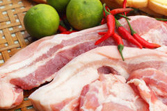 Streaky pork in the basket - for cooking. Royalty Free Stock Photo