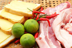 Streaky pork in the basket - for cooking. Royalty Free Stock Photos
