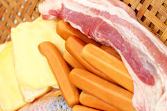 Streaky pork in the basket - for cooking. Royalty Free Stock Image