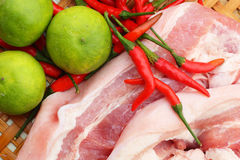 Streaky pork in the basket - for cooking. Royalty Free Stock Photography