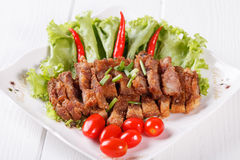 Streaky pork fried with spicy dipping sauce, Thai food Royalty Free Stock Image