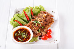 Streaky pork fried with spicy dipping sauce, Thai food Royalty Free Stock Photography