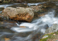 Stream. Cold stream and big stone Stock Photography