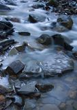 Stream. A stream or creek, is a body of water with a detectable current, confined within a bed and banks royalty free stock photo