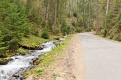 Stream alongside a mountain road Stock Photo