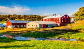 Stream and barn in rural York County, Pennsylvania. Stock Photography