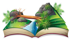 Stream book. Illustration of a popup book of a stream royalty free illustration