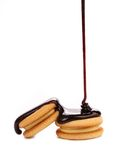 Stream chocolate and biscuit sandwich. Stock Photography