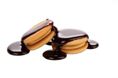 Stream chocolate and biscuit sandwich. Royalty Free Stock Images