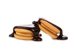 Stream chocolate and biscuit sandwich. Royalty Free Stock Photos