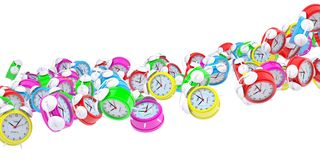 Stream of colored alarm clocks. Isolated 3d rendering Royalty Free Stock Photos