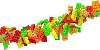 Stream of colored children's blocks Royalty Free Stock Photos
