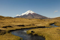 Stream and Cotopaxi. North entrance of Cotopaxi National Park, in the background the volcano and stream in the foreground stock photos