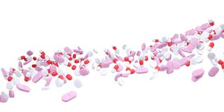 Stream of different pills Stock Photography