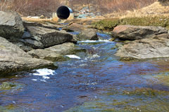 Stream with distant culvert Royalty Free Stock Photo