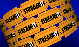 Stream It Download Content Movie Tickets Digital Film. 3d Illustration Royalty Free Stock Photo