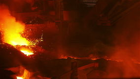 The stream of fire, sparks and hot metal stock video