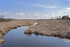 Stream in dry flat land stock photo