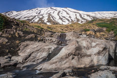 Stream flowing lava on the volcano Etna Royalty Free Stock Photos