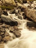 Stream flowing in motion over rocks.  Royalty Free Stock Images