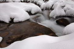 Stream flowing in winter in the mountains Stock Photography