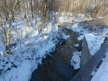Stream flowing through the woods on.a cold January 5 2018Â¿ stock photo