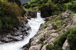 A stream flows between the rocks. From waterfall royalty free stock image