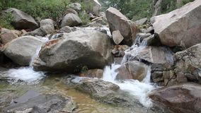 The stream flows through the valley. Are turbulent and clear. Very beautiful scenery stock footage