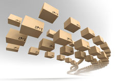 Stream of flying cardboard boxes Stock Image