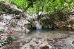 Stream in forest. At Mili gorge at Crete island, Greece royalty free stock photo