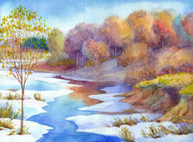 Stream in forest valley winter day. Watercolour landscape Royalty Free Stock Photography