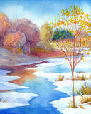 Stream in forest valley winter day. Watercolour landscape Royalty Free Stock Images