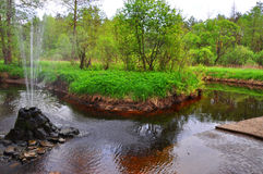 A stream and fountain near Sudogda city, Vladimir region, Russia Royalty Free Stock Images