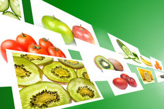 Stream with fruits and vegetables images Royalty Free Stock Photography