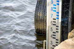 Stream gauge of the seaport of Ustka Stock Photo