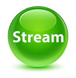 Stream glassy green round button Stock Images