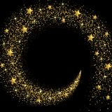 Stream of Golden Stars and Particles Stock Image
