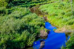 Stream through a green meadow. Winding, Waiprous County, Alberta, Canada stock image