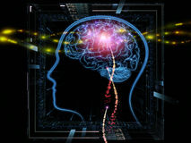 Stream of ideas. Background design of head outlines, lights and abstract design elements on the subject of intelligence,  consciousness, logical thinking, mental Royalty Free Stock Images