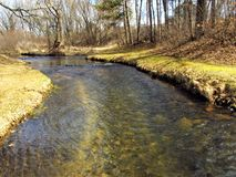 Stream of Life. The is a small stream in a park in Wisconsin in the early spring Stock Photo