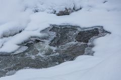 Stream in a magical winter forest on Christmas Eve, Altai, Russia stock images