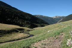 Stream and meadow in Andorra Royalty Free Stock Photography