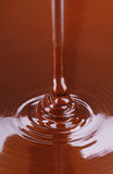 Stream of Melted Chocolate Pouring. A stream of melted chocolate pours like water into a plain filled with the liquid royalty free stock image