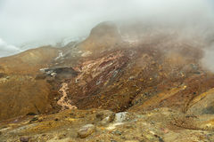Stream from melting of glaciers on the active volcano Mutnovsky. Royalty Free Stock Photos