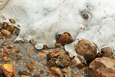 Stream from melting of glaciers on the active volcano Mutnovsky. Stock Photos